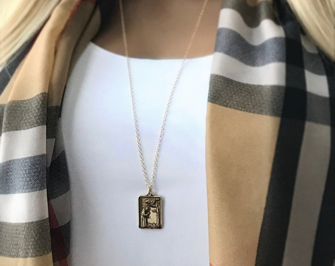 Coin Medallion Saint Francis Square Pendant Necklace, Bronze Pendant, 14k Gold Filled Long Layer Chain, Layering Religious Jewelry