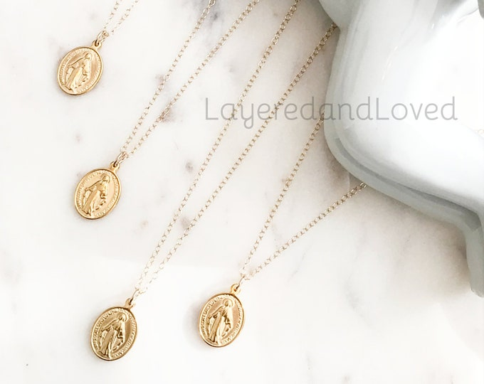 Gold Mother Mary Oval 14k Gold Filled Necklace, Religious Inspiration Necklace, Miraculous Virgin Mary, Catholic Pendant