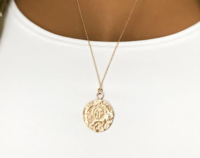Gold Lion Medallion Necklace, 14k Gold Filled Chain, Sparkling Gold Bronze Medallion