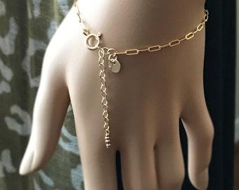Gold Link Chain Bracelet, 14k Gold Filled Disc Bracelet, Layering Bracelet, Large Link Chain, Adjustable Length