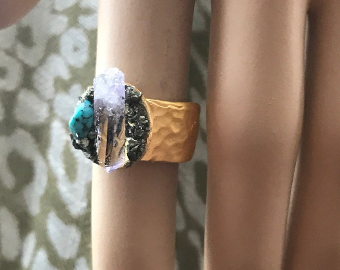 Vera Cruz Amethyst & Turquoise Nugget with Crushed Pyrite Gold Ring, Healing Crystals, Hammered Textured Gold Ring