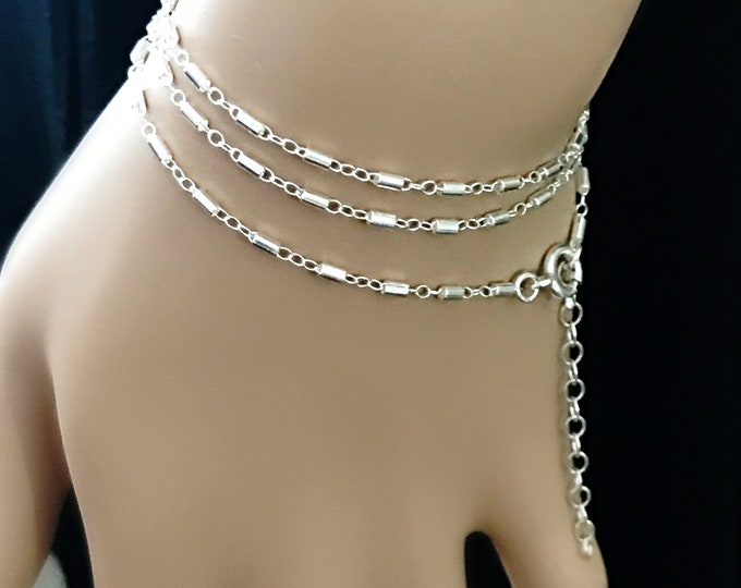 Dainty 3 in 1 Sterling Silver Bar Chain, Single Necklace ~ Double Anklet ~ Triple Bracelet