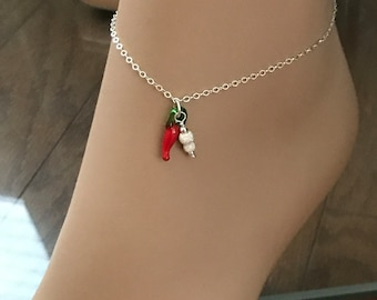 Sterling Silver Chili Pepper Anklet, Super Sparkle Stardust Beads, Red Hot Chili Pepper Anklet, Beach Wedding Anklet
