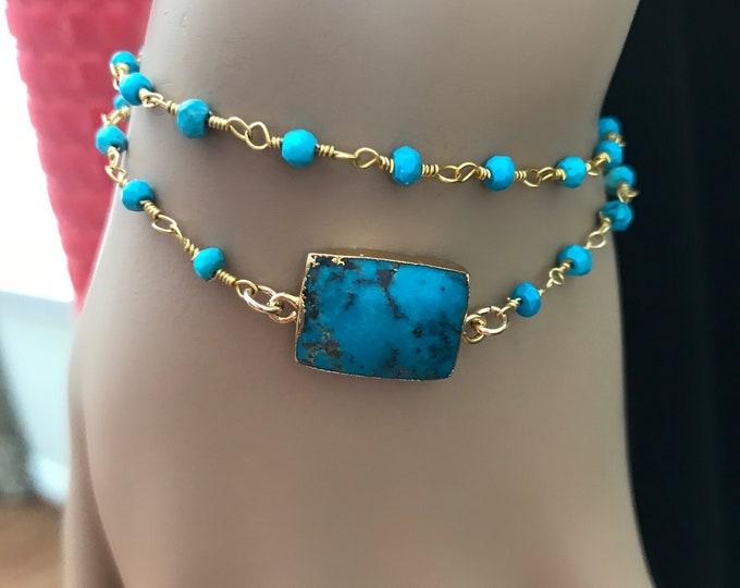 Turquoise Rosary Bracelet, Double Wrap, 14k Gold Filled Adjuster, Turquoise Stone, Bohemian Bracelet, Layered Rosary Bracelet