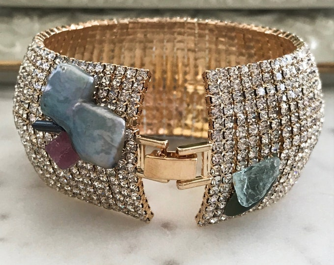 Gold Paved OOAK Rhinestone Gemstone Cuff, Tourmaline Crystals, Green Jade, Blue Apatite, Pearlized Square Pearls, Tennis Bracelet Cuff