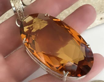 Vintage Sterling Silver Faceted Pendant, Large Citrine Glass Pendant, Over 100 Carats