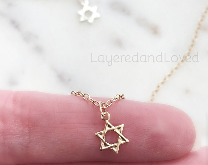 Teeny Tiny Star of David Necklace, Sterling Silver or 14k Gold Filled, Petite Dainty Charm Necklace