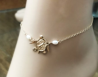 Gold Sea Turtle and Pearl 14k Gold Filled Anklet, Artisan Gold Bronze Turtle, Freshwater AA Pearls, Beach Boho, Best Friend Jewelry