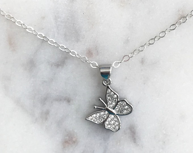 Silver Butterfly Necklace, Sterling Silver Chain, Cubic Zirconia Silver Butterfly Pendant, Butterfly Kisses