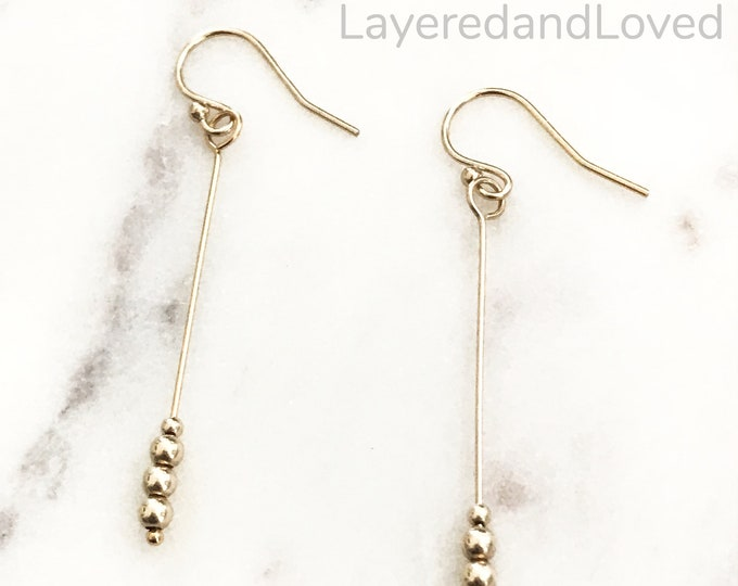 Gold Shaker Bead Dangle Earrings, 14k Gold Filled Dainty Dangle Drops, Classic and Chic