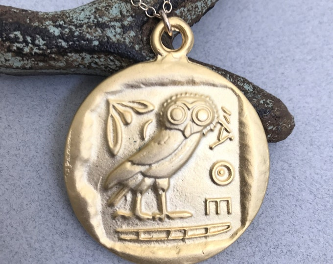 Gold Greek Owl Coin 14k Gold Filled Necklace, AOE, Tetradrachm, Mediterranean Goddess Gold Necklace, Gold Coin Necklace, Layering Medallion