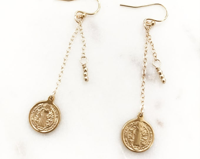 Long Gold Chain and Coin Earrings, Saint Benedict Coins, 14k Gold Filled Beaded Earrings, Religious & Faith Inspirational Jewelry