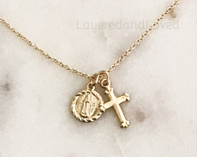 Tiny Gold Cross & Guadalupe Charm Necklace, 14k Gold Filled Inspirational Necklace