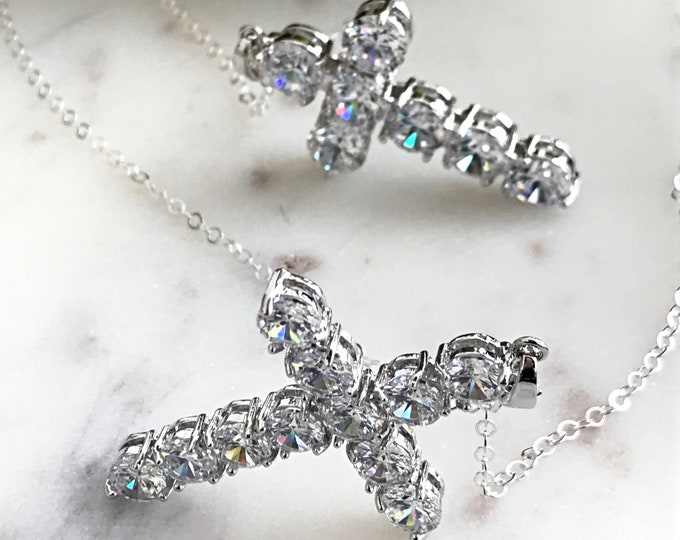 Silver Diamond Cross Necklace ~ Sterling Silver Kim K Inspired Met Gala CZ Cross, Layering Cross Set