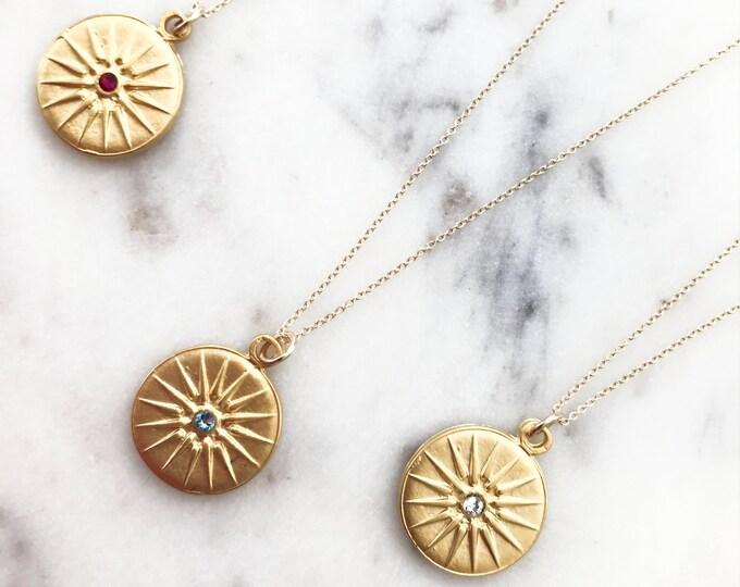 Birthstone Mandala Necklace, Gold Starburst 14k Gold Filled Necklace, Swarovski Crystal Birthstone,