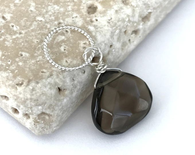 Smoky Quartz Faceted Dangle, Sterling Silver Twisted Ring, Gemstone Charm, Teardrop Quartz, June Birthstone