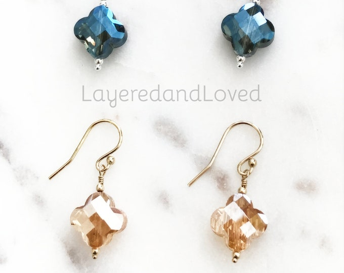 Faceted Clover Dangle Earrings, Champagne Quatrefoil or Blue Ombre, 14k Gold Filled or Sterling Silver, Faceted Sparkles