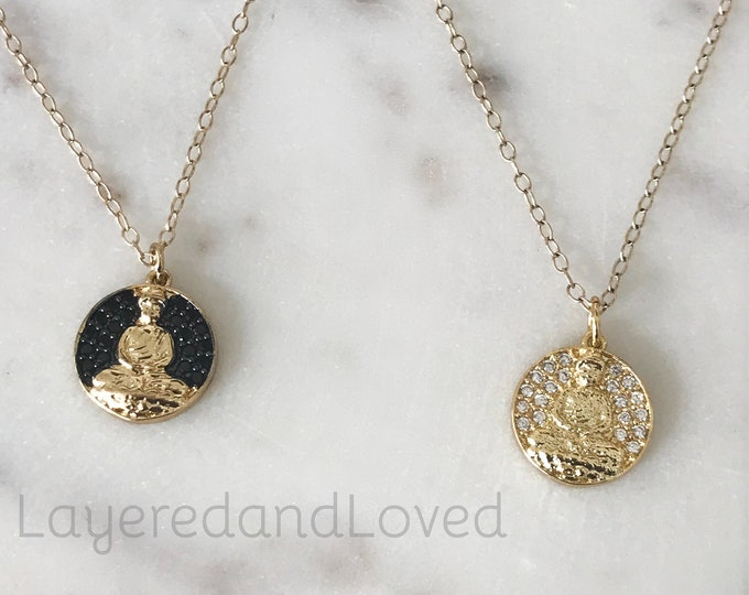 Gold Buddha Ohm Diamond Necklace, 14k Gold Filled Chain, 18k CZ Diamond Pendant, Inspirational