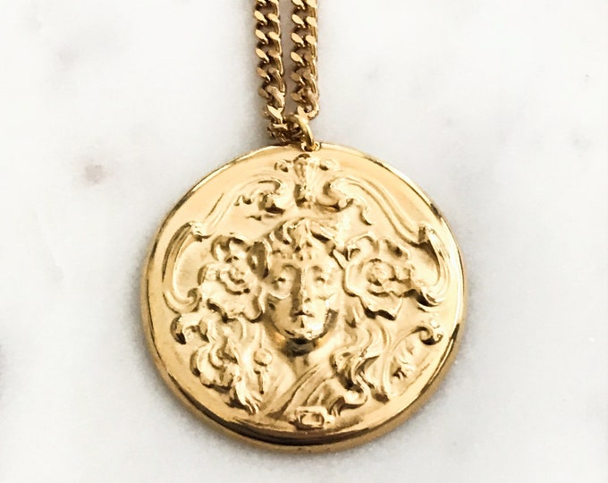 Mermaid Warrior Necklace, Gold Cuban Chain, Medusa Medallion Necklace