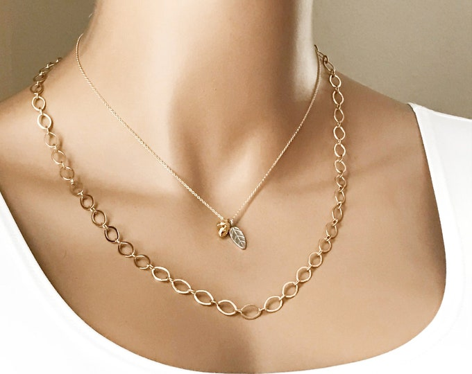 Large Link Chain Necklace, Gold or Silver, Long or Short, Layering Chain, Build a Layer