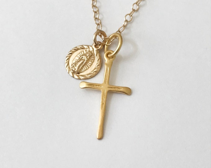 Layered Coin & Cross Necklace, Guadalupe Charm, Sterling Silver or 14k Gold Filled, Kendall Jenner Inspired