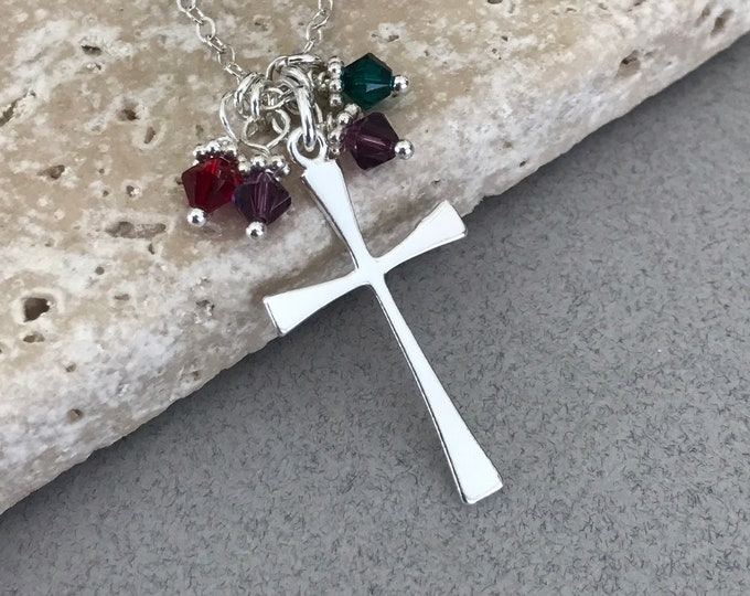 Mother's Necklace, Grandmother Necklace, Sterling Silver Cross & Swarovski Birthstones, Inspirational Necklace, Personalized