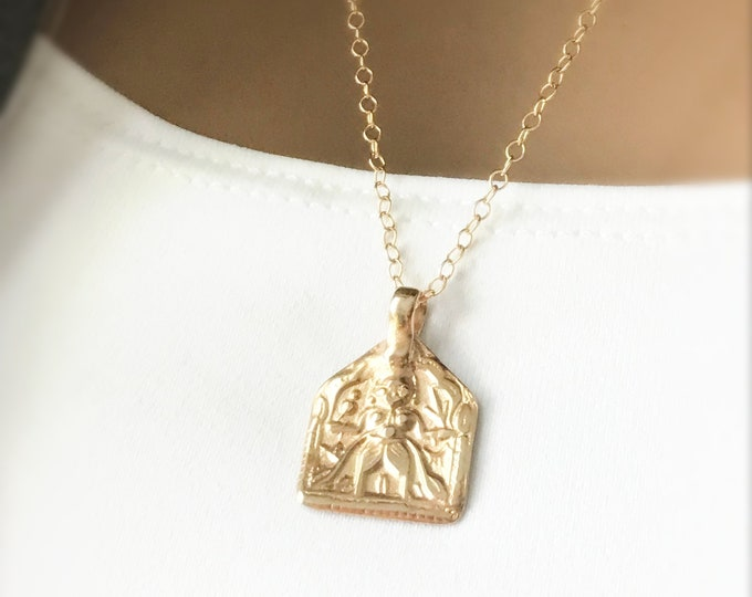 Gold Bronze Warrior Medallion Necklace, 14k Gold Filled Chain, Artisan Hand Crafted Square Pendant