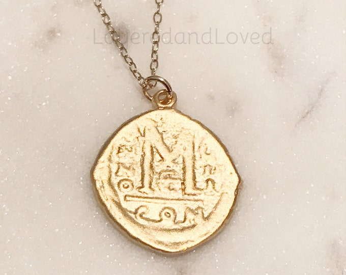 Greek M Coin Replica Necklace, 14k Gold Filled Necklace, Byzantine Replica, 40 Nummi Coin Pendant, Greek Roman Denomination