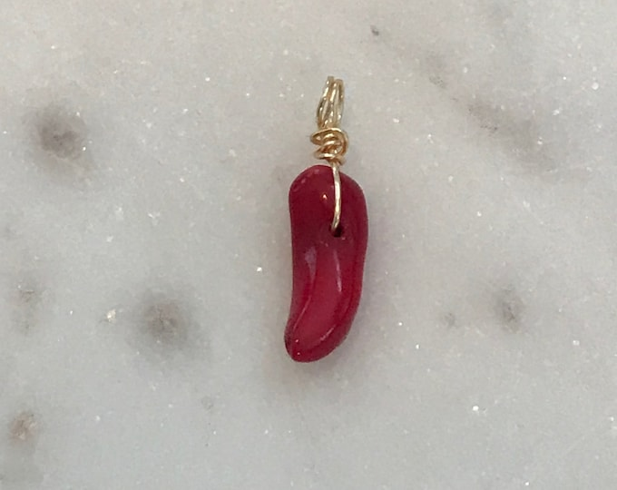 Red Coral Horn Charm, Red Coral Shapes of Horns, Claws, Shark Tooth, Italian Good Luck, #703/#843
