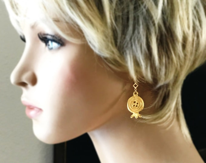 Athena's Gold Pomegranate Chandelier Earrings, Goddess of the Underground Earrings, 14k Gold Filled Wires, Bohemian Chic