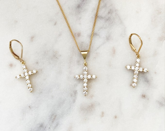 Gold Filled CZ Cross Necklace & Earrings Set, Gold Filled Curb Chain, Gold Filled Leverbacks, Inspirational, Thankful, Gift for her