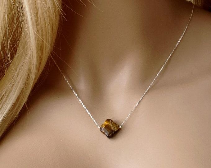 Tiger Eye Quatrefoil Dainty Choker, 14k Gold Filled or Sterling Silver, Opalite Quatrefoil Gold Necklace, Gemstone minimal Choker #1167