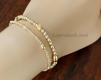 14k Gold Beaded Bracelet, Minimal Layered Bracelets, Gold Filled Round and Oval Beads, Clasp Closure, Dainty Bracelets, #1138 / #1139