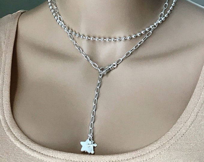 Sterling Silver Chunky Chain Lariat Y Necklace, Mother of Pearl MOP Star and Silver Cross Dangle, Adjustable Long Length,