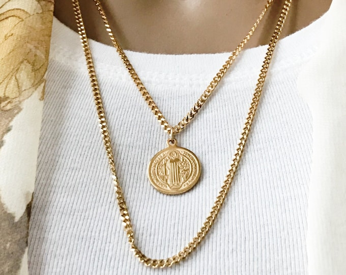 Gold Saint Benedict on Curb Chain, Stainless Steel Saint Necklace, Inspirational Jewelry, Choose Length, #722 / #1100