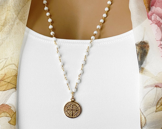 Gold Coin Saint Benedict Rosary Necklace ~ Large Coin Gemstone Necklace, Pink Opal, White Jade, Spiritual Inspiration, #987/#988