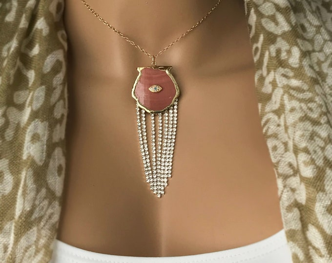 Clam Shell CZ Tassel Necklace, 14k Gold Filled Glam Goddess Sea Shell Jewelry, Evil Eye Beach Bling Sparkle Tassel