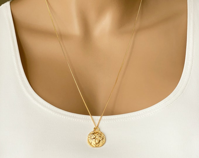 Greek Gold Artisan Coin Pendant, 14k Gold Filled Necklace, Long Layer Curb Chain Necklace, Vermeil Coin, 14k GF Chain