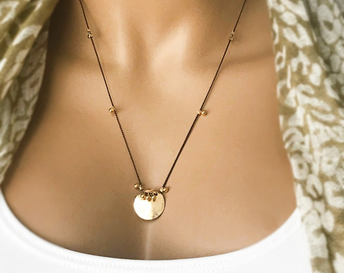 14k Gold Filled Hammered Disc with Dangling 14k Gold Filled Beads, Silk Cord with 3-D Gold Filled Balls, Tribal Gold Filled Necklace