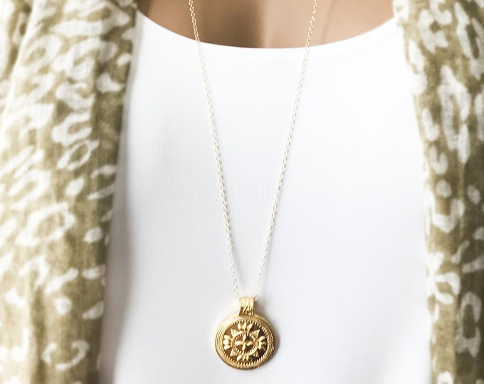 Gold Coin Medallions Set, 14k Gold Filled Chain, Long Euro Bohemian Necklace, Tribal Medallions