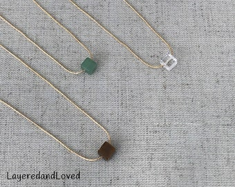 Gemstone Cube Necklace, Tiger Eye, Aventurine, Different Jaspers & More, Choose your Gemstone a 14k Gold Filled Snake Chain