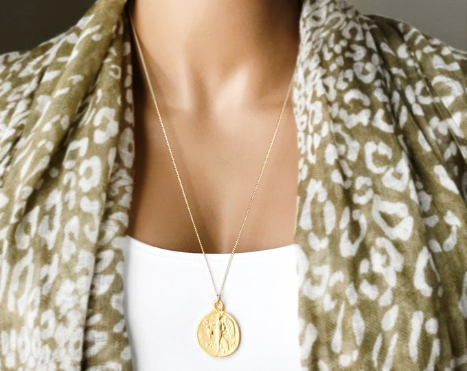 Greek Coin Medallion Necklace, 14k Gold Filled Necklace, Ancient Greek Athena Coin, Reversible Pendant, ID# 585