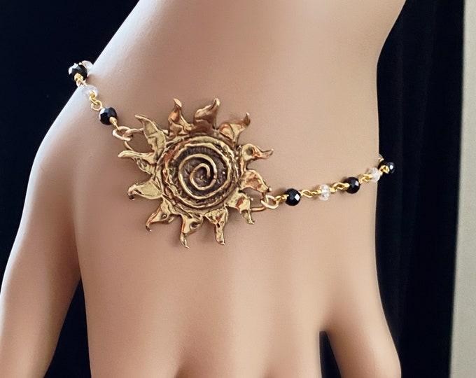 Bronze Sun Gemstone Rosary Bracelet,Black Spinel & Crystal Quartz Gemstones, Artisan Swirl Fiery Sun, Adjustable