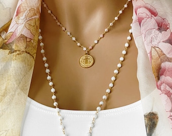 Large Gold Coin Rosary Necklace ~ Saint Benedict Gemstone Necklace, Pink Opal, White Jade, Spiritual Inspiration