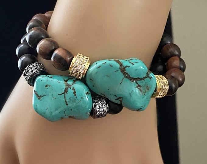 Turquoise Stack Bracelets, Choice Turquoise Nugget Bracelet, Mala Wood Beads, CZ Beads