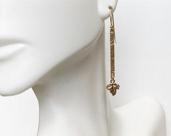 14k Gold Filled Bar Leaf Drop Earrings, Hand Stamped Floral Design, 100% Gold Filled, Oak Leaf Dangle, #1152