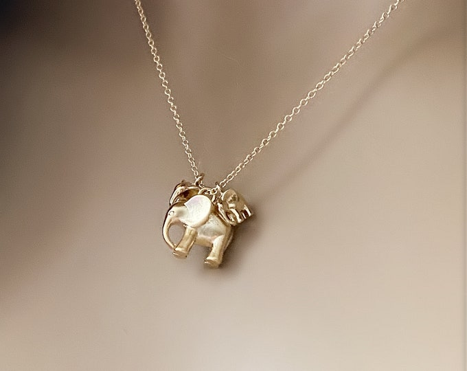 Gold Elephant 14k Gold Filled Necklace, Momma and Babies, Child's Necklace, Petite Layering Necklace