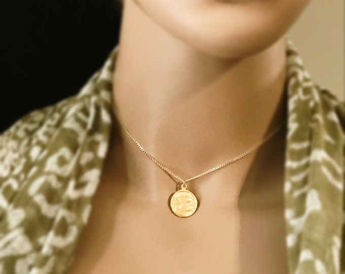 Greek Coin Replica Necklace, 14k Gold Filled Necklace, Choose your Coin, Gold Roman Necklace, Greek Mythology