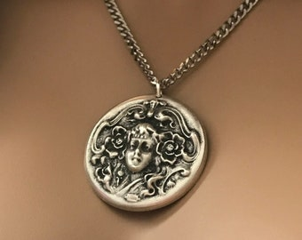 Silver Mermaid Warrior Necklace, Gold or Silver Cuban Chain, Medusa Medallion Necklace