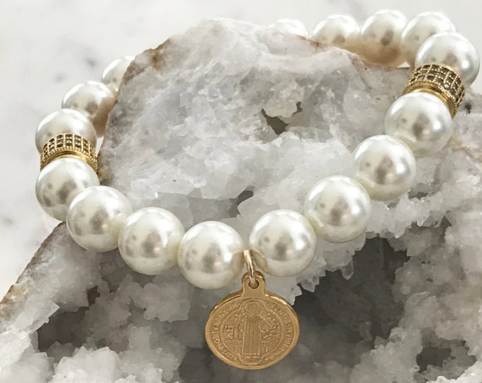 White Shell Pearl Coin Bracelet, Saint Benedict Beaded Stretch Bracelet, CZ Beaded Pearl Layer
